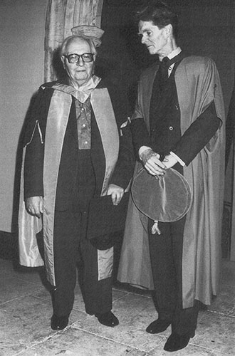 Olivier Messiaen (left) receives an honorary doctorate, with Malcolm Troup, December 1988