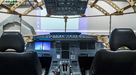 Inside a flight simulator at City