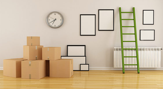 Packed boxes in an empty flat