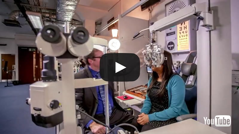 Still from a video about Clinical Skills facilities showing optometry facilities