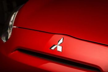 Close up of a red Mitsubishi bonnet