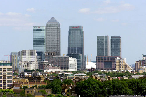 Tower Hamlets: View of Canary Wharf from the Thames