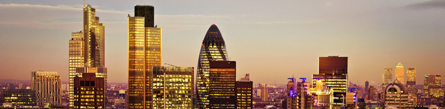 Tower 42 Gherkin,Willis Building, Stock Exchange Tower and Lloyd`s of London at night
