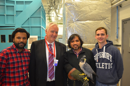 Christoph Bruecker with PhD students Chetan Jagadeesh, Erwin Gowree and undergrad Ed Talboys