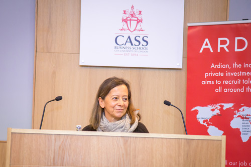 Ardian President Dominique Senequier talks at Cass
