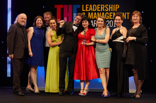 Thelma 2017 Aluni Engagement award winners from City, University of London alongside Tricia King and Bill Bailey