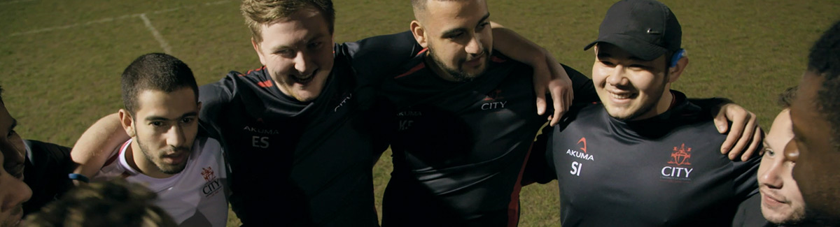 City, University of London rugby team in huddle