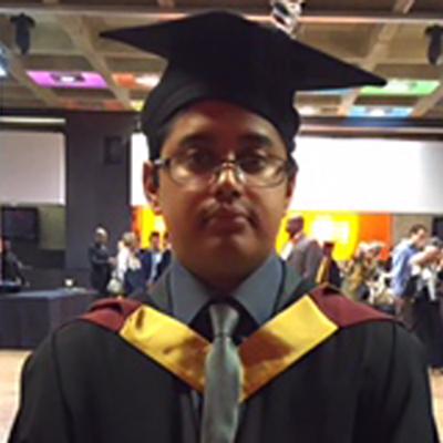 Sabir Zaman in graduation attire
