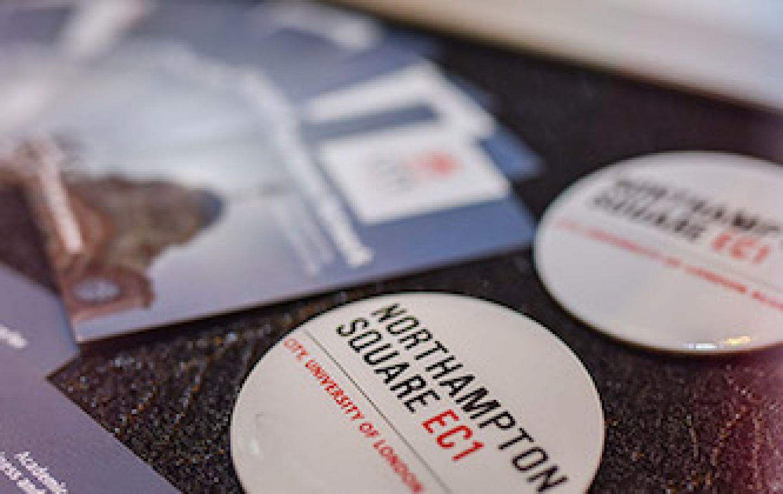 University fair leaflets and badges