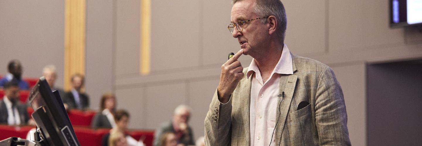 Tim Lang presenting in a lecture