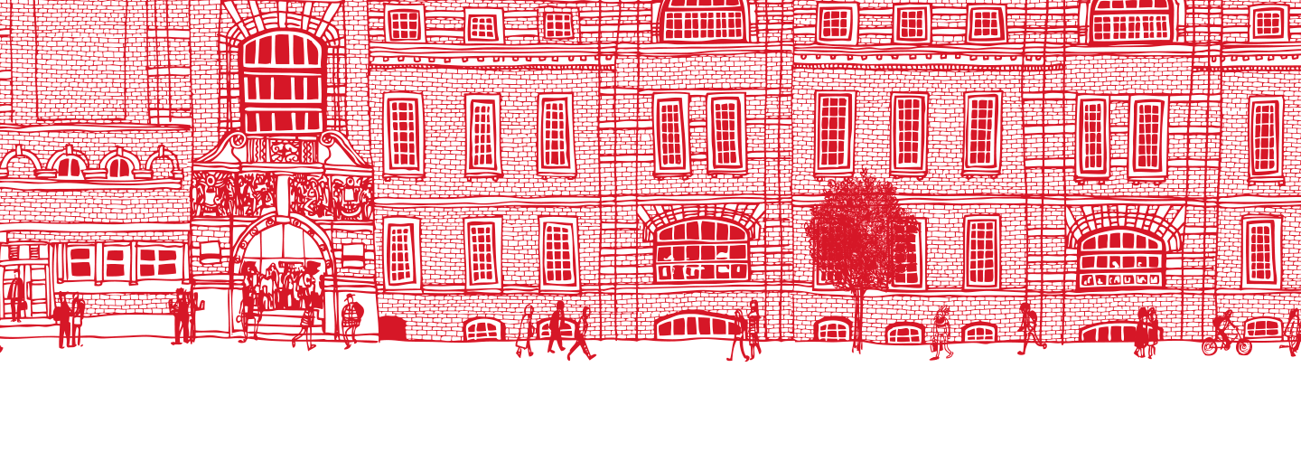 Illustration of exterior of college building
