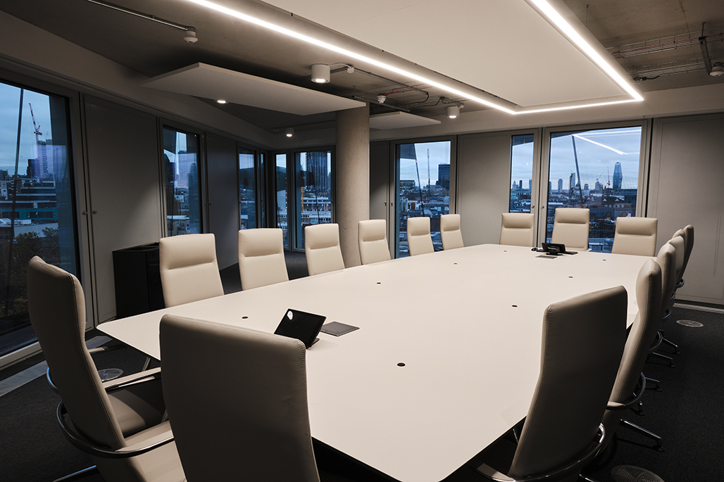The City of Law School's boardroom overlooking City of London skyline