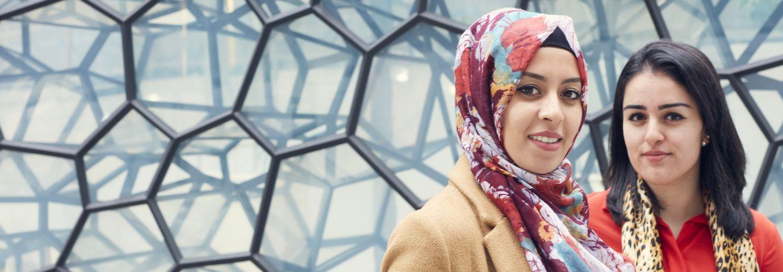 Female student entrepreneurs in colourful headscarf
