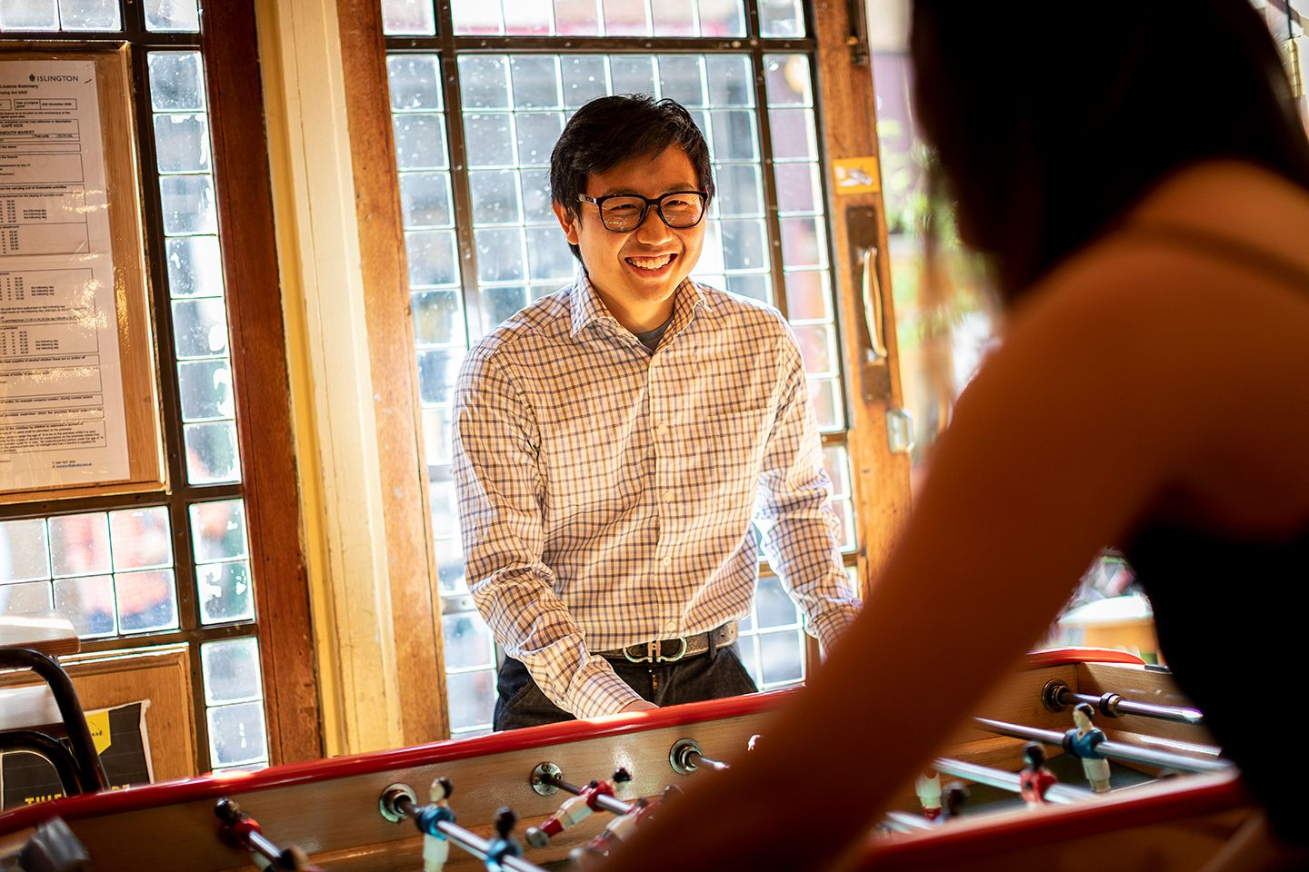 Man playing foosball