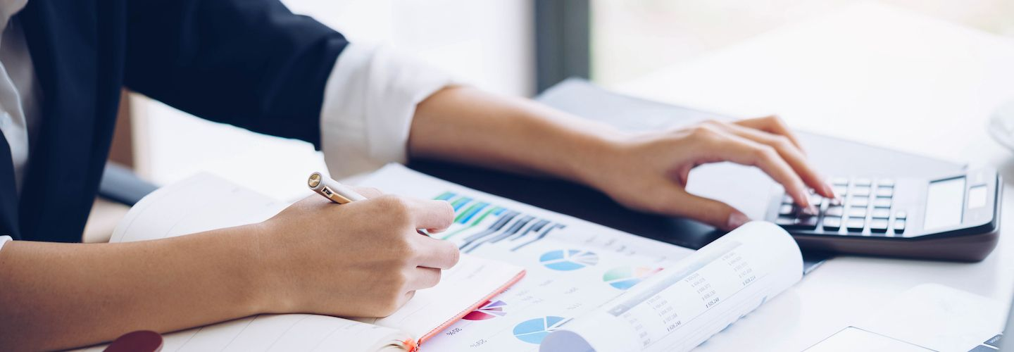 Business woman working with financial data
