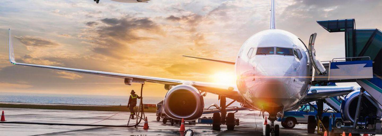 Aircraft at airport banner