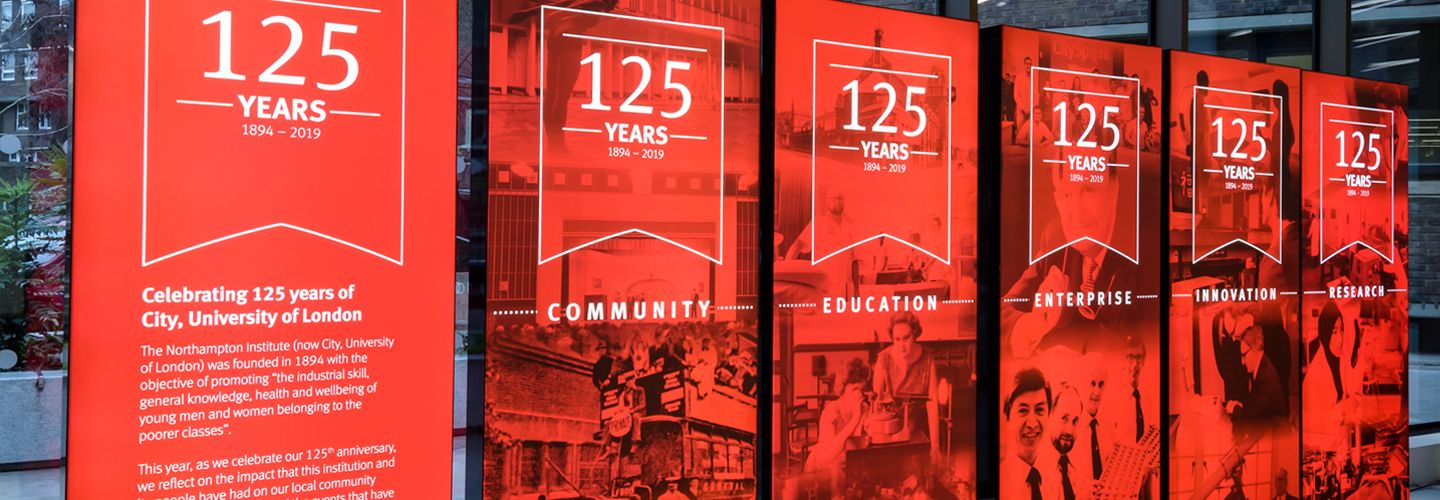 'Celebrating 125 years of City university of London' banner stand