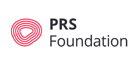 Logo featuring five red, concentric irregular shapes on the left and PRS Foundation in sans serif font on the right