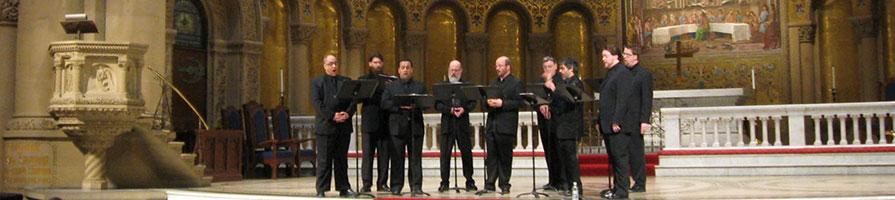 The Cappella Romana choir singing in a church