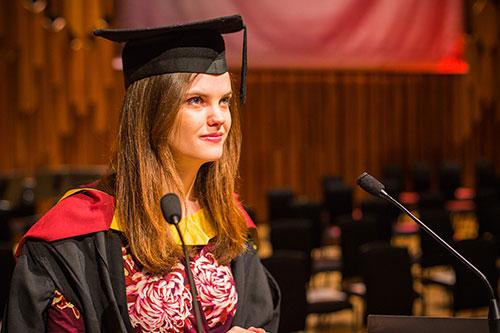 Student speaker Rachel at graduation