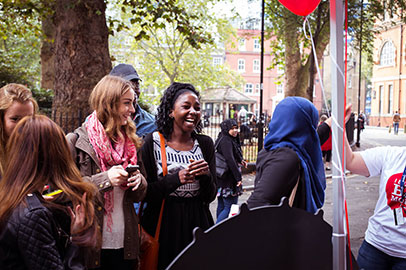 Students visiting an exhibition stall during Welcome Week