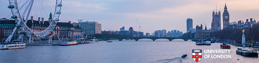 The London skyline with the University of London logo