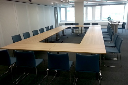 View of the room with boardroom layout, from the door