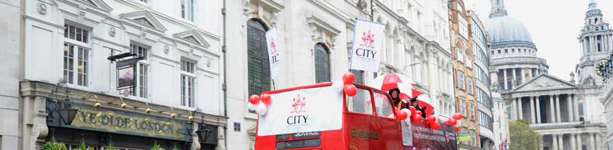 City, University of London bus at the Lord Mayor's Show 2016