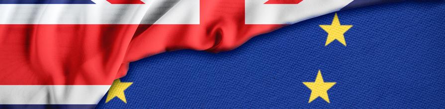 UK flag on top of EU flag. post brexit eu ebook