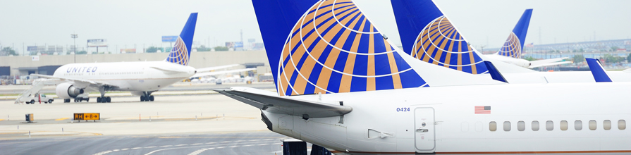 Tail of united airlines plane.