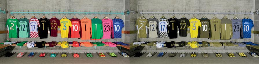 Football shirts hanging up