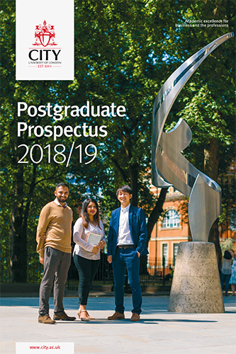 Cover of the postgraduate prospectus for 2018/19 academic year