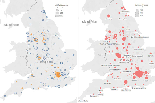 two maps of the UK showing ICU capacity and number of coronavirus cases