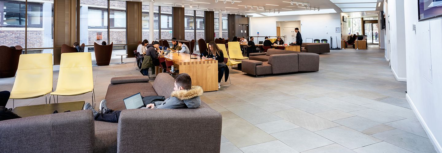 Students sitting in the pavilion study area
