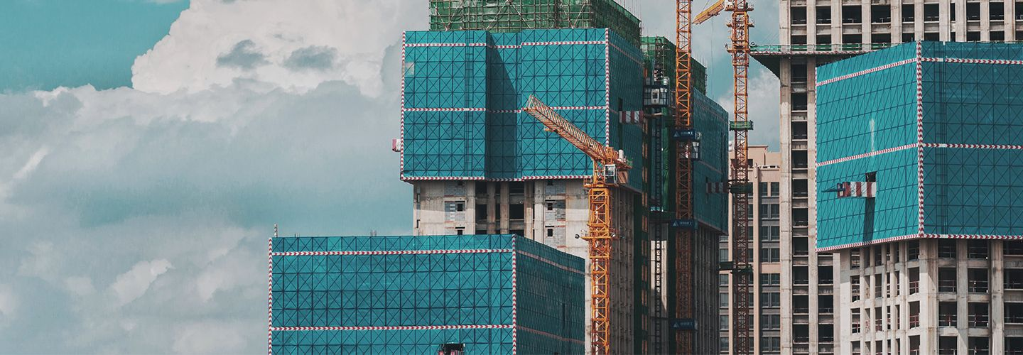 Skyline of building under construction