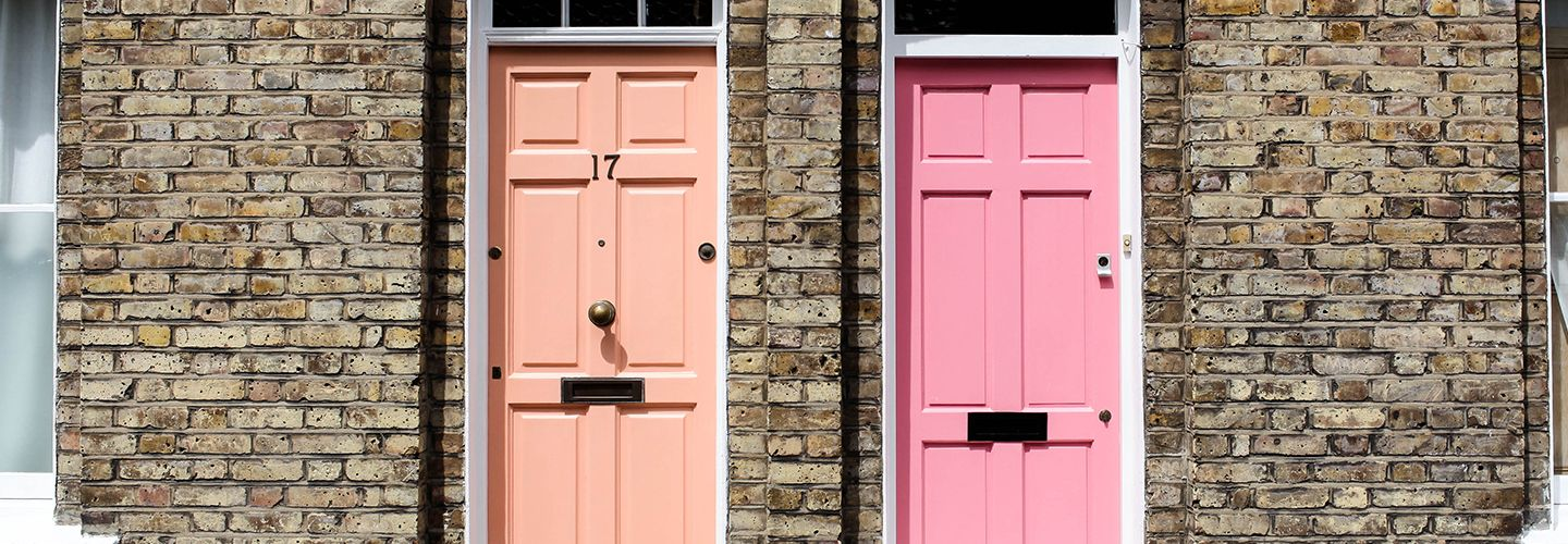 Colourful doors along Columbia Road, London