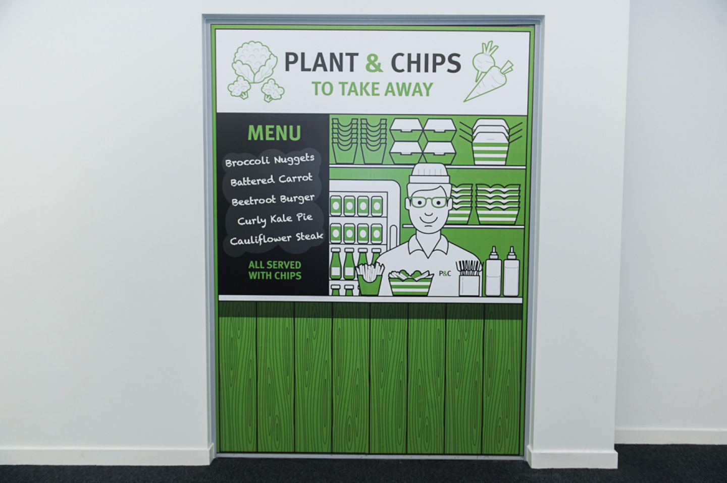 Plant and Chips to take away, menu: broccoli nuggers, battered carrot, beetroot burger, cauliflower steak.
