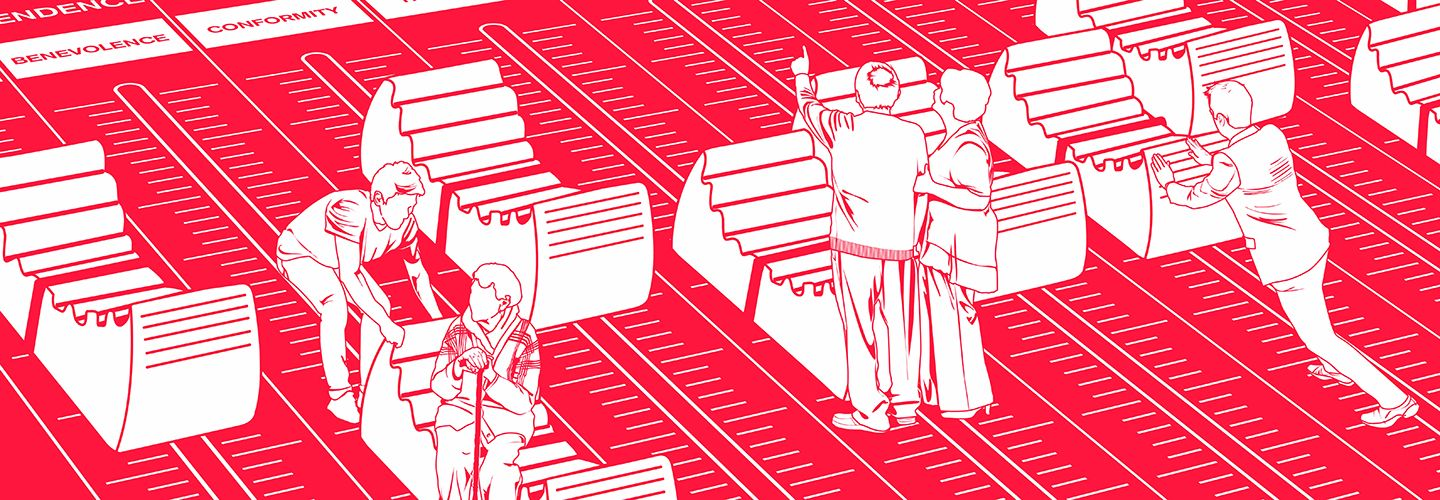 White on red illustration of people pushing and pulling giant switches related to individual human values, such as benevolence or conformity.