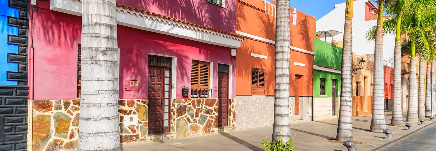Colourful street of houses in Puerto de la Cruz, Tenerife