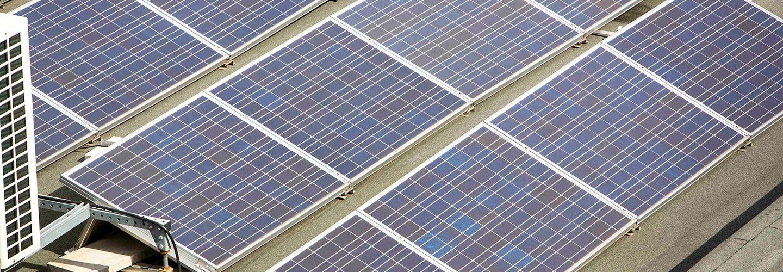 Solar panels on City University of London's roof