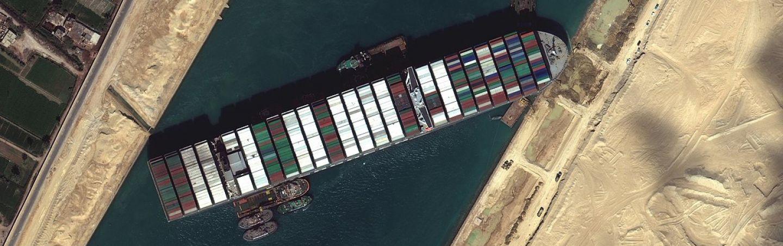Ever Given ship blockage Suez banner