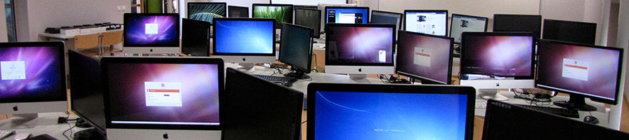 iMacs and PCs in a computer lab