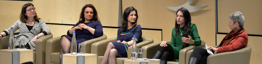 The panel at The Rise of Women Journalists in the Arab World