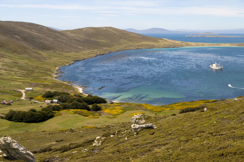 An idyllic bay in the Falkland Islands with a farmhouse by the shore and cruise ship anchored nearby.