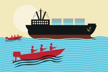 Modern Maritime Pirates Attacking Cargo Ship
