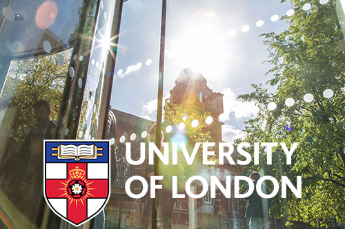 College Building overlaid with the University of London logo