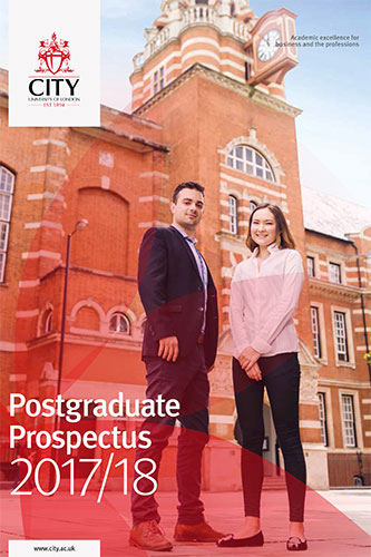 Cover of the postgraduate prospectus for 2017/18 academic year