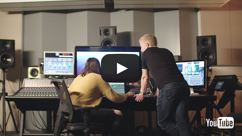 students working in the sound studio