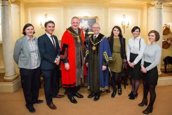 Olive Hopkin who won the Worshipful Company of Information Technologists Silver Award with family, and Sheriff Peter Estlin (Alderman)