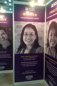Mary Ann Ooi Suan Kim, City Law School alumna, on a poster at the British Council Alumni Awards 2017 in Malaysia.